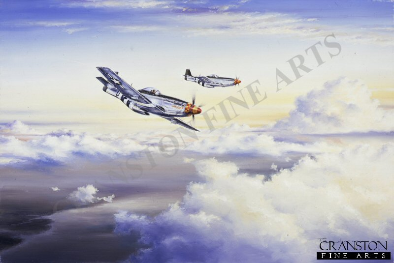 When a fighter escort with a bombers range first appeared over Berlin, Goering knew the end of the war was only a matter of time. when that particular fighter escort turned out to be the Mustang, perhaps the most outstanding of all WWII fighters, the time was all too short. Unlike the RAFs Spitfire and Hurricane, that had succeeded in the Battle of Britain, Goerings Luftwaffe failed to protect its own air space, leaving allied air forces unhampered to bomb Germany by both day and night.  Two battle weary Mustangs of 357th Fighter Group, with ammunition spent and fuel low, have broken away from the main bomber force to head across the Channel for home.