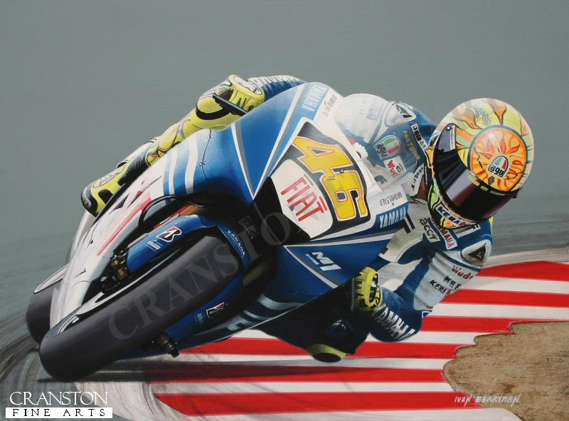 Valentino Rossi on his way to a seventh Moto GP World Championship in the 2009 season on his Yamaha, scoring thirteen podium finishes, including six race wins, leaving him 45 points clear of his nearest rival.