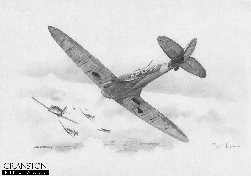 The lone Spitfire of Maurice <i>Peter</i> Brown of No.41 Sqn, single-handedly attacks a group of eight Me109s on 25th October 1940.