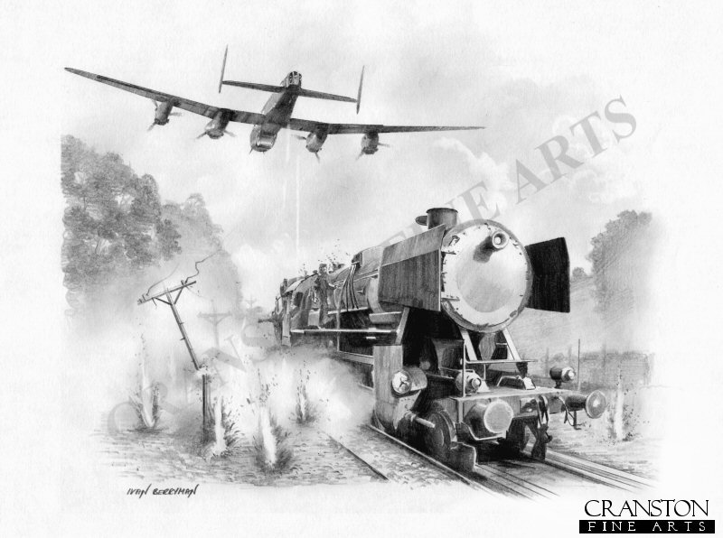 The nose and tail gunners of Ken Brown's Lancaster ED918(G) F for Freddie pour fire into a train as they pass overhead en route to the Sorpe Dam during the Dambusters raid.