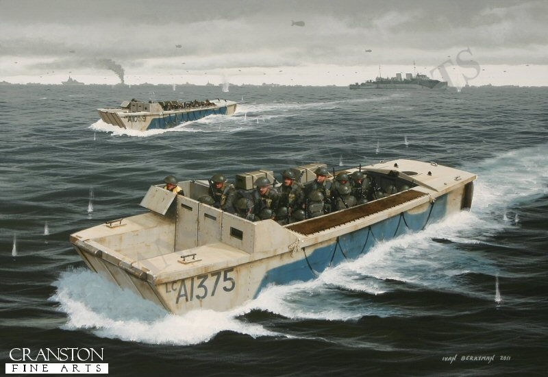 On 6th June 1944, D-Day, the Canadian steamship HMCS Prince David  (F89), seen here in the background, released her compliment of landing craft embarking elements of Le Regiment de la Chaudiere, plus some Royal Marines, bound for Mike and Nan beaches.  Their mission was to clear mines and provide cover for the assault craft that were to follow.  By the close of the day, all of her landing craft had been lost to enemy action except one that was accidentally forced onto a semi-submerged obstacle by a friendly tank carrier.