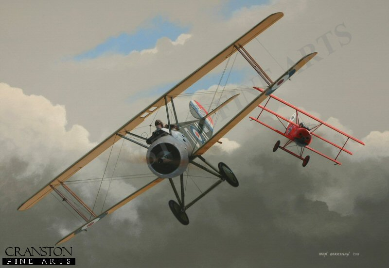 In the skies just west of Amiens on 20th April 1918, the celebrated German ace, Manfred von Richthofen, the Red Baron, flying his famous all-red Fokker DR.1 Triplane 425/17 and accompanied by other DR.1s of his notorious Flying Circus, encountered Sopwith Camels of No.3 and No.201 Squadrons and a fierce aerial battle ensued.  Two Sopwith Camels were to fall to the Red Baron's guns that day, the first of them being Major Richard Raymond-Barker, shown here flicking his aircraft to the right to avoid the German's fire.  Raymond-Barker was almost immediately shot down, his burning aircraft being consumed by fire on impact.  Just minutes later, Second Lieutenant David Lewis was caught and despatched, these two British scouts being the last ever victims of Baron von Richthofen.