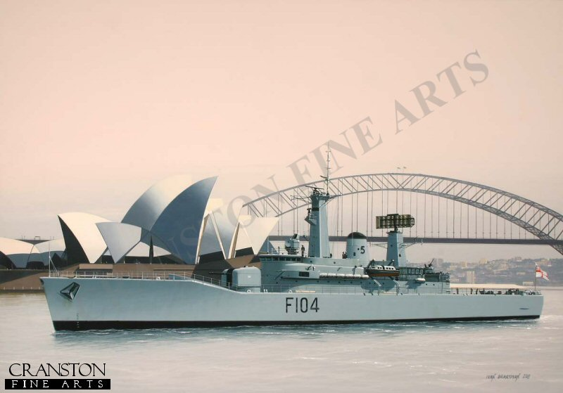 The Leander class frigate HMS Dido moves gently through the quiet waters of Sydney Harbour in October 1973 where she was present for the official opening by Her Majesty the Queen of the iconic Opera House.