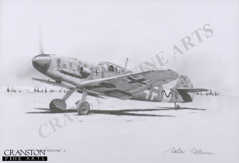 With 275 victories, Gunther Rall was one of the top Luftwaffe Aces of the second world war.  Here, he is depicted in his Me109 <i>Black 13</i> of JG52.