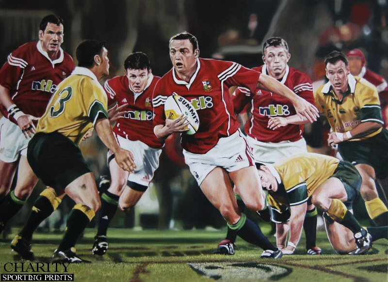 Rob Henderson supported by Jonny Wilkinson and Brian O'Driscoll during the British and Irish Lions Tour against Australia in 2001.