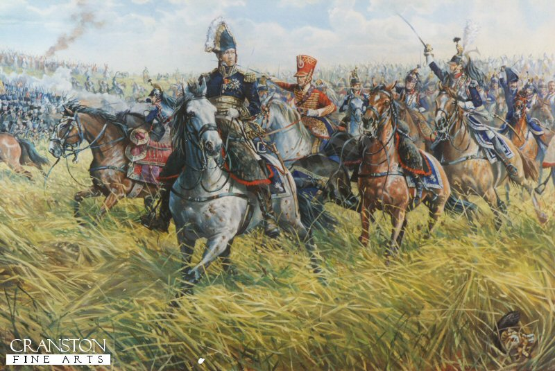 Marshal Ney charging at the head of the French cavalry against the British Squares. Of all Napoleons Generals at Waterloo none distinguished himself more than Marshal Ney, Prince of the Moskowa, the splendid warrior upon whom his Imperial master had conferred the proud title of Le Brave des Braves (The Bravest of the Brave) Twice he led the attack on the British centre, first at the head of the cavalry and then with the Old Guard, and he only retired from the field at nightfall, after five horses had been killed under him.