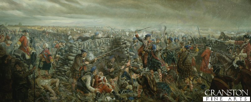 Icy rain adds its misery to the bitter conflict on Drumossie Moor. In the shadow of the Black Isle, two English ships on the waters of the Moray Firth, await the outcome of the decisive battle. Pounded by Cumberlands gunners and raked by steady musketry, the Princes brave men can make no headway. Although the Irish and French regulars refuse to give ground, the Jacobite lines gradually disintegrate. Tired, cold and hungry men flea past Culloden House for the relative safety of Inverness. On the Scottish right the Argyll Militia, supported by Hawleys Dragoons, tear down the walls of the Culwiniac and Culchunaig enclosures in an outflanking attack. Avochies men offer some resistance but Major Gillies McBean stands alone on the breach. He cuts down more than a dozen Argylls, including Lord Robert Kerr, who lies mortally wounded, but his foes are too many. The hero eventually falls to a vicious cut to the forehead, his thigh bone is also broken. Despite the cries of a mounted officer to save that brave man, the major is ruthlessly bayonetted, his back against the wall. The victory is complete and nothing more can be done. In the distance, the Young Pretender is forced to abandon the field and Scotlands hope of claiming the British Throne.