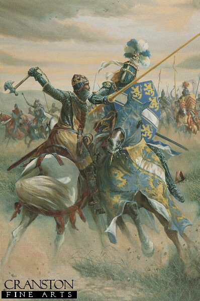 Robert The Bruce dispatches Sir Henry De Bohun before the Battle of Bannockburn.  Far ahead of Edward IIs main army, marching from Falkirk to relieve Stirling Castle, rides the English vanguard. Late on that day, 23rd June 1314, these horsemen advance along the Roman road and cross Bannockburn. Eager for combat Gloucesters bold Barons and Knights spur on their chargers towards the gathered Scottish infantry. Robert the Bruce, King of Scots, not yet fully dressed for battle, sits astride a grey pony. He rides out ahead of his formations to observe the enemys advance. One of the English Knights, Sir Henry De Bohun, seeing the Kings vulnerable position, gallops ahead of his fellows to engage Bruce in single combat. Undaunted, the King holds his ground. Skillfully turning his mount away from the thrust of the Knights deadly lance in one movement he swings his battle axe down upon his enemys head with such force that the handle is shattered and the unfortunate attackers skull is split in two. In triumph, Bruce returns to the cheers of his countrymen who before the day is out will soon deliver a similar fate upon many other English noblemen. As the light fades the Riders retire but both armies know well that the main battle of Bannockburn has yet to begin.