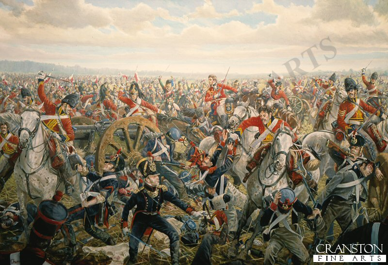 At about 2.00pm the Union Brigade crashes through the ranks on Napoleons Ist Infantry Corps. The 2nd Royal North British Dragoons (later known as The Scots Greys) on the far left of the line, plow through Marcognets division, only Duruttes division will escape intact. With Brigade General Ponsortby at their head, elements of the now disordered Cavalry charge on to the French artillery.  Even though, at close quarters, the Gunners and attached Infantry are no match for the wild Scots, they desperately try to save their 12 pounder field pieces. However the British heavy Cavalry is now out of control and Napoleons retribution will be swift.  From the undulating ground before Paillotte comes the thunder of hooves and the deadly lances of 4th Regiment and the 3th Chasseurs a Cheval. In the confusion many of the British soldiers are completely unaware of the onslaught as the fresh French Cavalry sweeps through their flank.  Ponsonbys mount leaps through the mud as the exhausted Brigade is herded together for the final kill.  Even against all odds the brave men continue to fight. The Brigade General himself will shortly be sabred by Sergeant Urban as he attempts to capture the eagle of the 4th Lancers.