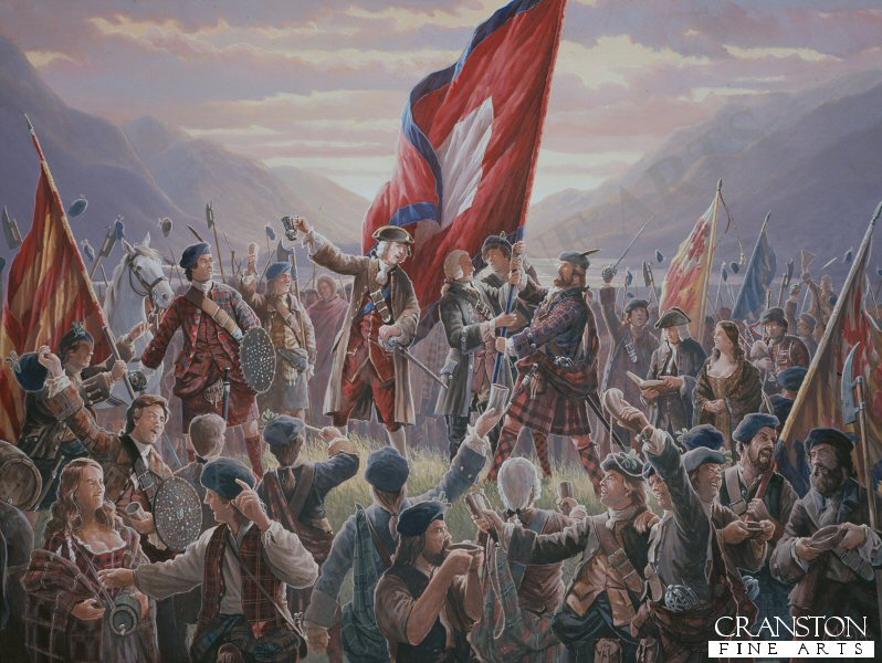 Supported by the Highland Chiefs with twelve hundred highlanders present. Prince Charles Edward Stuart raised his standard at Glenfinnan on the 19th August  1745. This was the start of the Forty Five which would end with the defeat of the Jacobite Army on Drumossie Moor at the battle of Culloden 16th April 1746.