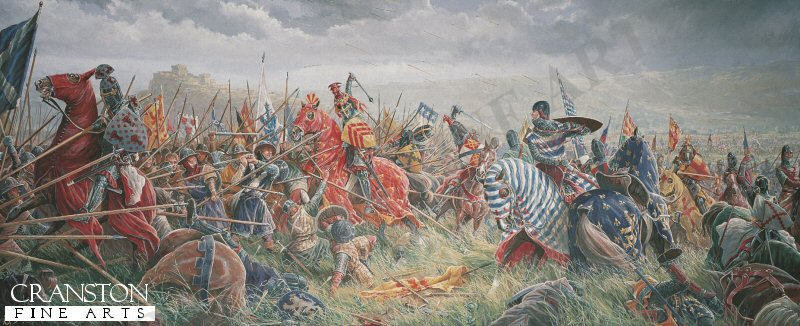With the full might of Englands Army now gathered to do battle before the besieged Stirling Castle, the young Edward II Plantagenate is confident of victory over the enemy. To the west of the Bannockburn, Robert Bruce, King of Scots kneels to pray with his men and commends his soul to God. The Scottish battle lines are prepared. The Cavalry is in reserve to the rear behind the spearmen and archers (known as Flower of the forest) in tightly packed Schiltrons patiently awaiting the coming onslaught. Unknown to the English, the open marshy ground of no mans land conceals hidden pits and trenches, major obstacles for any mounted charge.  Despite Cliffords and de Beaumonts premature and unsuccessful attempt to relieve the castle the day before, years of victory have taught the brave English knights to regard their Scottish foes with contempt. So, without waiting for the bowmen to effectively weaken the enemy lines the order is hurriedly given to attack! With one rush hundreds of mounted knights led by the impetuous Earl of Gloucester thunder headlong through the boggy ground straight for the impenetrable forest of spears and into defeat and death.  With dash and courage the knights try to force a way through the mass of spears but the Scots stand firm. The momentum of the charge is lost and there is no room to manoeuvre. Everywhere horses and men crash to the ground, casualties amongst the English are horrific. Robert Bruce seizes the moment and orders the exultant army to advance. The Englishmen are slowly pushed back into the waters of the Bannockburn. All discipline is lost as the soldiers and horses madly scramble for the far bank of the burn. Many drown or perish in the crush to escape the deadly melee. Edward II, with his army destroyed, flees with his bodyguard for the safety of Stirling Castle but is refused refuge and has to fight his way south to England. For Robert Bruce and Scotland victory is complete. Text by Paul Scarron-Jones.