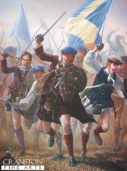 Battle of Prestonpans.  Bonnie Prince Charlie, after landing at Glenfinnan, in his bid to gain the British Throne.  Lord George Murray with an army of 2,000 Jacobites marched southward where they were meet  at Prestonpans by General  Sir John Cope and a Royal army of 3,000 men  On the 21st September.  The Jacobites charged the  government troops and routed them. hundreds of Government troops were killed or wounded and over 1,000 were captured. with the Jacobite losses less than 150.  With this victory Charles Edward Stuart and the Jacobite army marched southwards into England capturing the towns of Carlisle, Penrith, Lancaster and Preston and getting as far as Nottingham before lack of supplies and new recruits forced him to heads back to Scotland. Through the early morning Autumn mist, Highlanders of the Appin Regiment abandon their plaids and rush headlong across fields of stubble into the stunned ranks of Jonny Copes army. The force sent by the Crown to destroy the rebellion and capture the Pretender is itself utterly routed in a matter of minutes.  The first major engagement of the uprising is a swift and complete victory for the Princes men. Except for the garrisons of Edinburgh, Stirling, Fort William and Fort Augustus, Scotland is now under the control of the Jacobites.