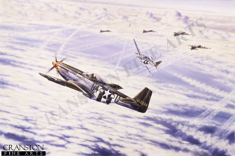Depicting Mustang aircraft escorting Flying Fortresses on a bombing raid over Germany.
