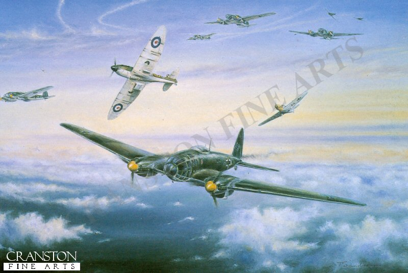 Portsmouth August 26th 1940, the lone spitfire of Squadron Leader Sandy Johnstone breaks the ranks and picks off one of the menacing Heinkels only to encounter an equally determined attack from a BF109. <br><br>We were brought to readiness in the middle of lunch and scrambled to intercept mixed bag of 100+ Heinkel IIIs and DO 17s approaching Portsmouth from the South.  The controller did a first class job and positioned us one thousand feet above the target. with the sun  behind us, allowing us to spot the raiders from a long way off. No escorting Messchersmitts were in sight at the time, although a sizable force was to turn up soon after. then something strange happened.  I was about to give a ticking off to our chaps for misusing the R/T when I realised I was listening to German voices. It appeared we were both using the same frequency and, although having no knowledge of the language it sounded from the monotonous flow of the conversation that they were unaware of our presence. as soon  as we dived towards the leading formation, however we were assailed immediately to loud shouts of  Achtung Spitfuern Spitfuern! as our bullets began to take their toll.  In spite of having taken jerry by surprise our bag was only six, with others claimed as damaged, before the remainder dived for cloud cover and turned for home. In the meantime the escorting fighters were amongst us when two of our fellows were badly shot up. Hector Maclean stopped a cannon shell on his cockpit, blowing his foot off above the ankle although, in spite of his grave injuries, he managed to fly his spitfire back to Tangmere to land with wheels retracted. Cyril Babbages aircraft was also badly damaged in the action. forcing him to abandon it and take to his parachute. He was ultimately picked up by a rescue launch and put ashore at Bognor, having suffered only minor injuries.  I personally accounted for one Heinkel III in the action (Sandy Johnson) . <br><br>No. 602 City of Glasgow auxiliary squadron w