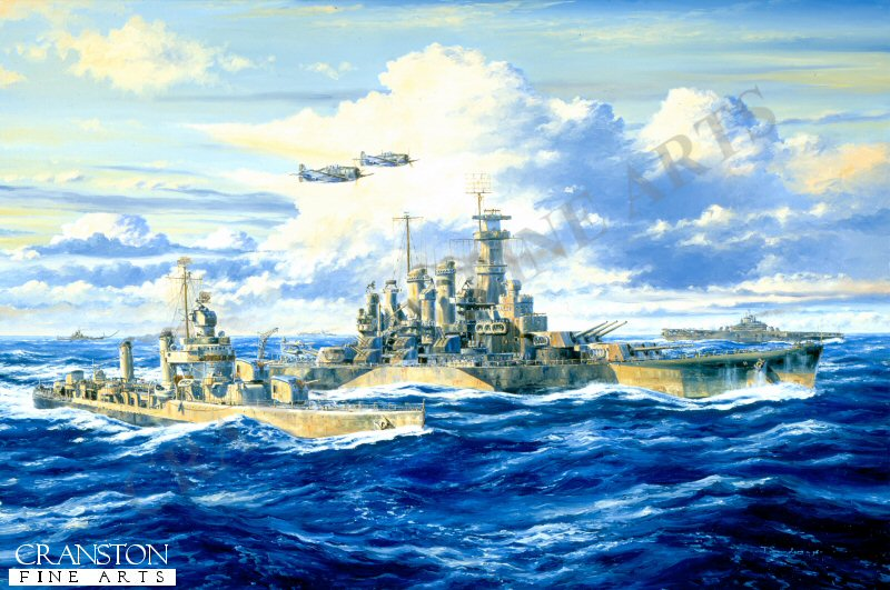 By June 1944 the US Fleet had made a huge leap across the Pacific to the Marianas, a small group of Japanese held islands of which Saipan would prove the most difficult to overcome. The landing were supported by the US 5th Fleet, which included USS North Carolina together with an increasingly powerful armada of battle hardened warships.