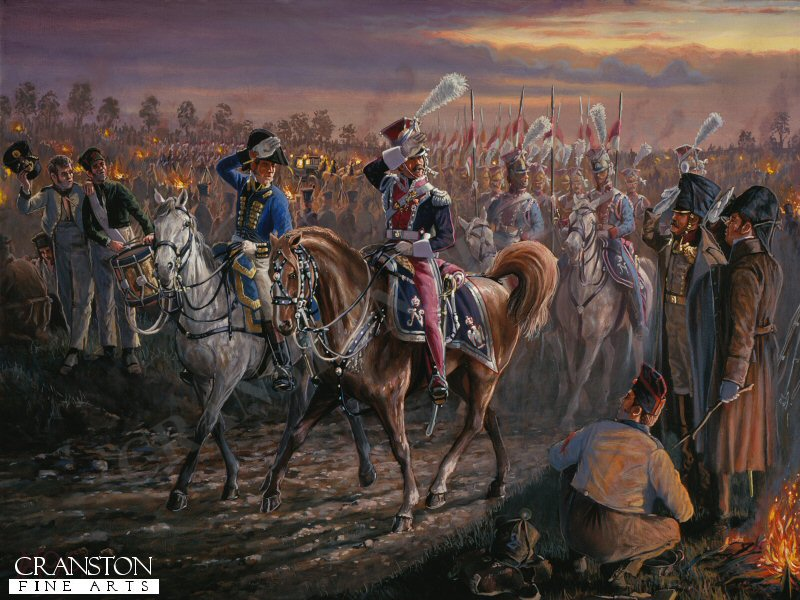 Depicting Polish Lancers escorting a generals carriage as they pass through an infantry bivouac during the Hundred Days Campaign.