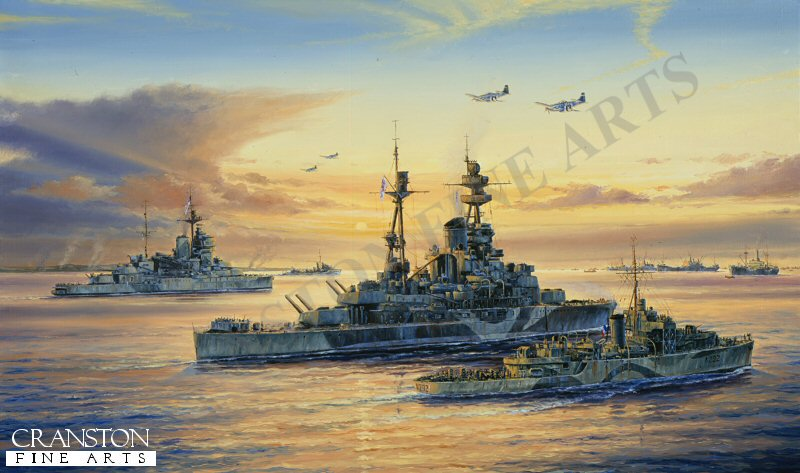 HMS Ramillies and Warspite manoeuvre into position off the coast of Normandy. The major battleships of the Home Fleet, with their massive guns which could deliver gunfire with pinpoint accuracy to 17 miles. they proved invaluable on the day of the biggest seaborne land invasion in history.
