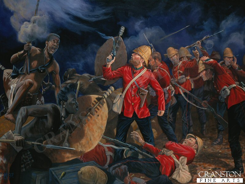 Lt Gonville Bromhead stands over Private Hitch, B Co. 2/24th. Rorkes Drift, front barricade