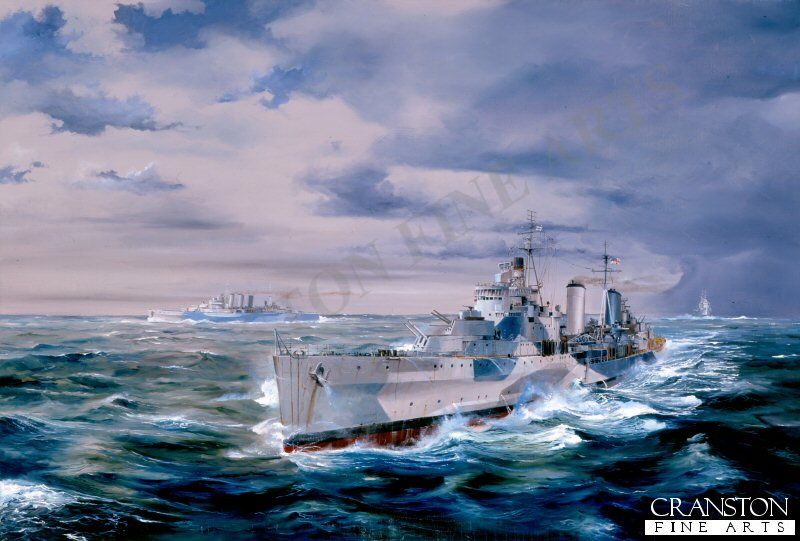 Under lowering arctic skies HMS Belfast (Admiral Burnets Flagship) leads HMS Sheffield and HMS Norfolk in the race to protect convoy JW55B from Scharnhorst.<br><br>These canvases are from stock and have been in our various mobile displays for some time, and now have damage on the back of the canvas only.  These spotted areas appear either down one side or across the back, or on both side areas of the back. The damage does not affect the front image as the fronts have a protective coating. You can see the type of damage in the extra image shown below. They will frame up showing none of the damage anwill look superb. Due to this damage, we are selling them below cost.