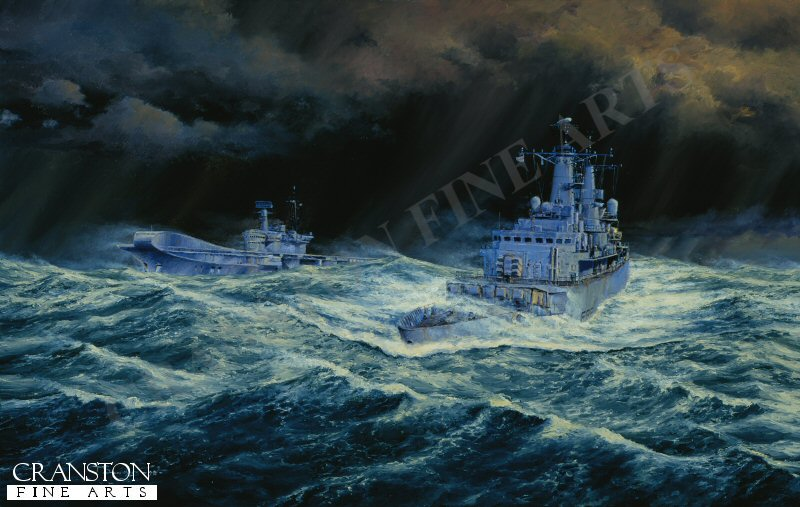 HMS Broadsword and the aircraft carrier Hermes battle their way through the storm on their way to the Battle for the Falklands.