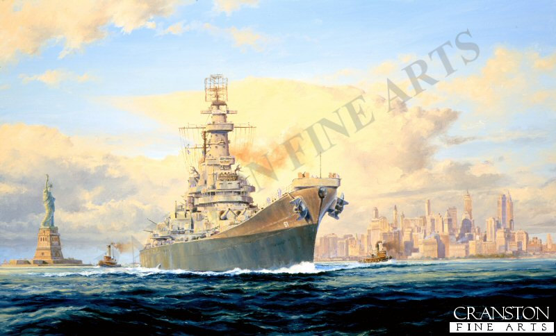 BB61 Iowa, was commissioned in February 1943 at the New York Navy yard. her first mission was to the North Atlantic in August 1943 to neutralise the threat of the German Battleship Tirpitz. By early 1944 she joined the Pacific fleet taking part in many of the major battles including Saipan, Leyte Gulf and Okinawa. She was re-commissioned in 1951 for the Korean war and again in April 1984.
