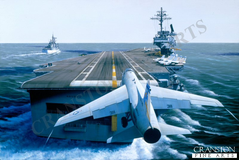 A Vought A-7 Corsair of VA-146 makes its  final approach to the sprawling deck of the USS America, (CVA-66) as she skirts Vietnamese waters in company with a little Rock-class missile / command cruiser. The A-7 became the Navys prime weapon toward the end of the war, playing a vital role in the anti-radiation Linebacker Raids.