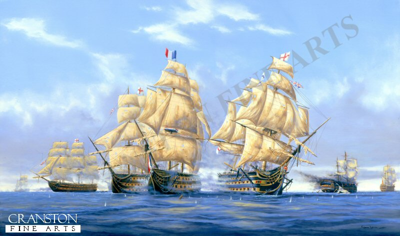 The time is 1.35pm. (ten minutes after Admiral nelson had been fatally shot) HMS Temeraire and HMS Victory, are seen broadside to the redoubtable, which by 2pm had lost most of her crew, (out of a crew of 643 - 487 were dead, 81 died soon after, and only 25 were fit to crew) <br><br>These canvases are from stock and have been in our various mobile displays for some time, and now have damage on the back of the canvas only.  These spotted areas appear either down one side or across the back, or on both side areas of the back. The damage does not affect the front image as the fronts have a protective coating. You can see the type of damage in the extra image shown below. They will frame up showing none of the damage anwill look superb. Due to this damage, we are selling them below cost.