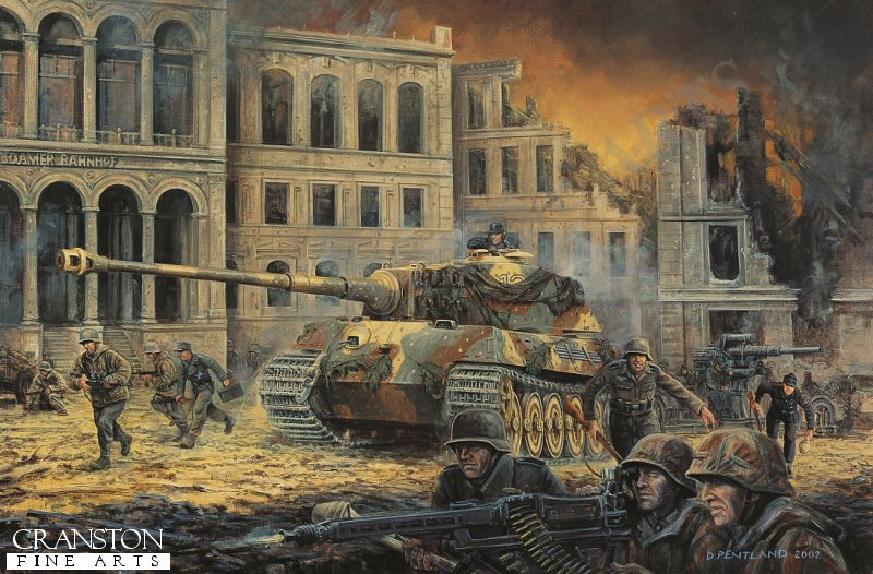 Unterscharfurher Karl-Heinz Turk of the Schwere SS Panzerabteilung 503, in one of the units few remaining Kingtigers, defends the Potsdammer Platz along with elements of the Munchberg Division against the rapidly encroaching Soviet forces. <br><br>These canvases are from stock and have been in our various mobile displays for some time, and now have damage on the back of the canvas only.  These spotted areas appear either down one side or across the back, or on both side areas of the back. The damage does not affect the front image as the fronts have a protective coating. You can see the type of damage in the extra image shown below. They will frame up showing none of the damage and will look superb. Due to this damage, we are selling them below cost. <br><br><b>Only one of these damaged canvas prints is available - a great bargain.</b> <br>
