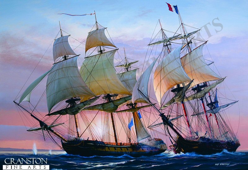 HMS Boreas encounters the French Compas, August 29th 1779. <br><br><b>TWO PRINTS ONLY IN THIS SPECIAL PROMOTION</b><br>