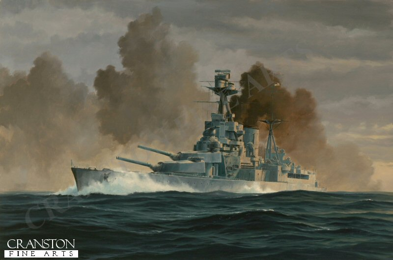 HMS Hood readies to fire off a what proved to be the final salvo against the Bismarck before a shell from the German battleship penetrated the magazine of HMS Hood, tearing apart the British ship in an enormous explosion.