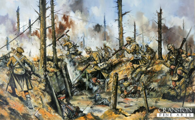 Aubers / Neuve Chapelle -1500- The 1st battalion, Black Watch, brought in to relieve the shattered 2nd Brigade, go over the top and advanced at the double across no -mans land.  Suffering heavy casualties from the incessant German machine gun fire, elements of the regiment plunged into the German  trenches just as the bombardment lifted.  A desperate battle then took place for the German position, the outnumbered Highlanders fighting tenaciously; elements of the regiment even reached the German second line.  In spite of their superhuman bravery, and being reinforced by two companies of the Camerons, sheer German numbers proved to be overwhelming for the Black Watch; every single highlander being killed or wounded in defending this hard won position.