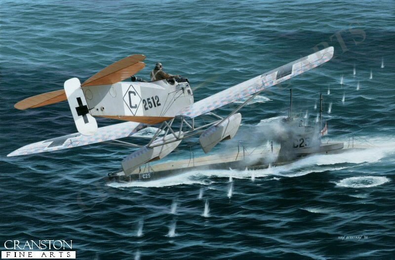 During a patrol on 6th July 1918, Christiansen spotted a British submarine on the surface of the Thames Estuary. He immediately turned and put his Hansa-Brandenburg W.29 floatplane into an attacking dive, raking the submarine C.25 with machine gun fire, killing the captain and five other crewmen. This victory was added to his personal tally, bringing his score to 13 kills by the end of the war, even though the submarine managed to limp back to safety. Christiansen survived the war and went on to work as a pilot for the Dornier company, notably flying the giant Dornier Do.X on its inaugural flight to New York in 1930. He died in 1972, aged 93. <br><br><b>TWO PRINTS ONLY IN THIS SPECIAL NEWSLETTER PROMOTION.</b> <br>