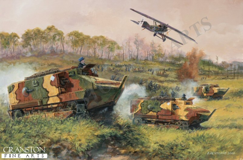 Schneider CA1 Tanks of the French tenth army spearhead the successful counter offensive against the German army on the river Marne. Overhead a tenacious Junkers JI artillery spotter dogs their tracks. The Second Battle of the Marne, though not an overwhelming victory, spelt the end of German successes on the Western front, and a turning point for the allies.
