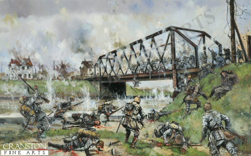 German forces begin their assault on the Nimy Bridge, 23rd August 1914.  The bridge was defended by the 4th Battalion The Royal Fusiliers.