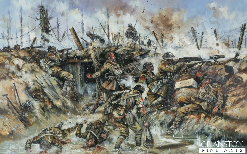 The German attack on the British trenches at Passchendaele in the rain.