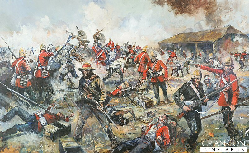 The painting depicts the climax of the Zulu attacks at the defence of Rorkes Drift. The Zulus were unable to effectively penetrate the mealie bag defenses at Rorkes Drift, even though they succeeded in burning down the hospital, and peppering the storehouse with bullet holes. The confined space available to the British garrison caused a certain degree of physical compression, but this in fact worked against the Zulus, as it drove the defenders closer together with the result being that the volley fire from the defenders was concentrated and subsequently very effective at close range, as opposed to the spread out skirmish line type formation used at Isandlwhana. The Zulu attacks also became uncoordinated, being driven forward by charismatic individuals, but lacking the support of the necessary numbers needed to overwhelm the desperate defenders, who now appreciated that they were literally fighting for their lives.