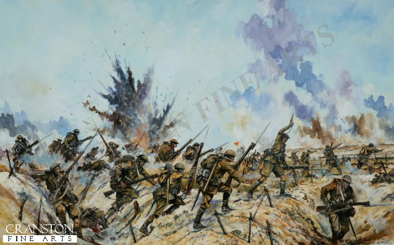 Assault in the vicinity of Thiepval by the Ulster division-1st July 1916.  The 11th Royal Irish Rifles, moving forward from the A line of trenches, and moving forward to attack the B line of trenches, the attacking infantry are preceded by Bombers - seen carryng grenades in green canvas buckets - who are engaged in throwing grenades in anticipation of the rifle company assault on the enemy trenches; an activity barely changed since the days of Marlborough.  The rifle companies are armed with the Lee Enfield SMLE - a superb rifle, though expensive to make.  The advance is made with bayonets fixed, as trench clearing involved numerous hand to hand confrontations and bayonet fights.  The rifle companies are supported by  two Lewis gun teams per company.  Note that visible in the painting is a man carrying an orange painted steel marker, painted on one side only. The markers are to to indicate to British artillery observers as to the most forward positions taken by the British advance.  Naturally, one does not present the orange side to the enemy!