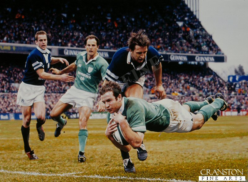 Geordan Murphy goes over for a second Irish try in their final match of the 2004 Six Nations Championship against Scotland.  With victories over Wales and England already in the bag, Ireland secured the Triple Crown with this 37 - 16 win over Scotland.