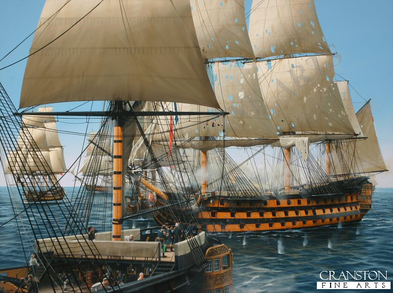 Arguably the most iconic moment in British naval history, <i>HMS Victory</i> is depicted just moments from firing her devastating opening salvo into the stern galleries of the French flagship </i>Bucentaure</i> at Trafalgar as Nelson&#39s flagship enters the fray at approximately 12.30pm on October 21st 1805.  Beyond <i>Victory</i>, in the extreme distance through the gun smoke, Collingwood&#39s <i>Royal Sovereign</i>is engaging the <i>Santa Ana</i>.  To the left of the painting, the French <i>Neptune</i> and Spanish <i>San Justo</i> can be seen with <i>Redoutable</i> immediately beyond <i>Victory</i>, trying vainly to close the gap.  <i>Victory</i>, already shot to pieces, is about to wreak her terrible revenge on the <i>Bucentaure</i> in the foreground where Vice-Admiral Villeneuve can be seen on the poop deck - wearing the green corduroy pantaloons.  Nelson was surely the nemesis of Villeneuve, who had been summarily humiliated some seven years earlier at the Battle of the Nile and Nelson&#39s tactics would again win the day for His Majesty&#39s navy, albeit at the tragic cost of Nelson himself. <br><br><b>TWO PRINTS ONLY IN THIS SPECIAL PROMOTION</b><br>