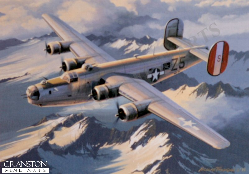 Safe Haven by Nicolas Trudgian signed by four B-24 Aircrew