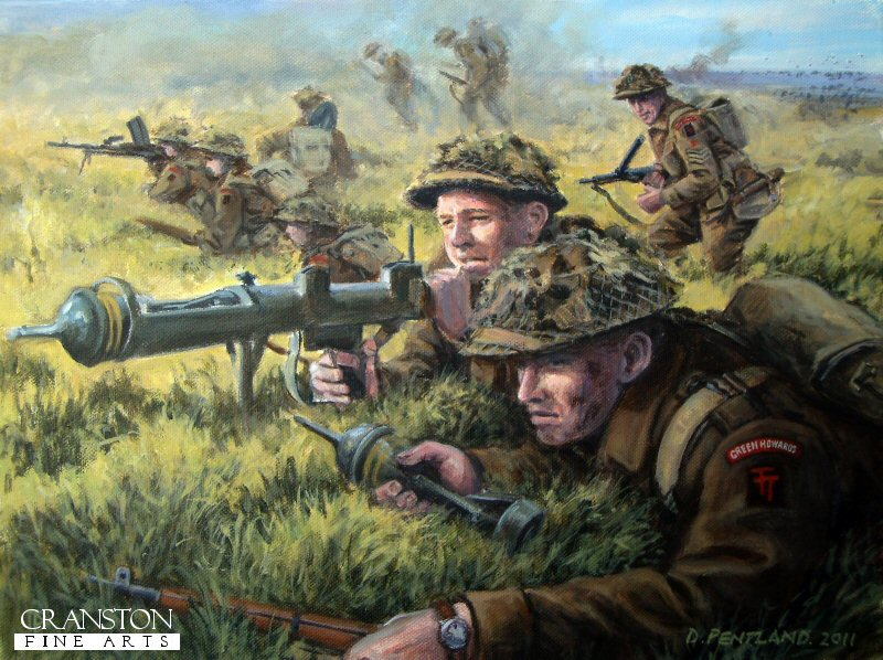 Gold Beach, Normandy, D-Day, 6th June 1944.  A PIAT team and riflemen of the 6th Green Howards part of  British 50th (Tyne Tees) Division, push inland in the direction of Caen. <br><br><b>TWO PRINTS ONLY IN THIS SPECIAL PROMOTION</b><br>
