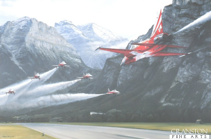 In the narrow valley dominated by the 3000 metre high Mt Glarnish the Patrouille Suisse Tigers line up over the runway of the satellite airfield of Mollis as solo Paul Thoma streaks underneath in the dramatic <i>Tunnel</i> manoeuvre. <br><br><b>Ex display prints with slight border and handling damage.</b><br>