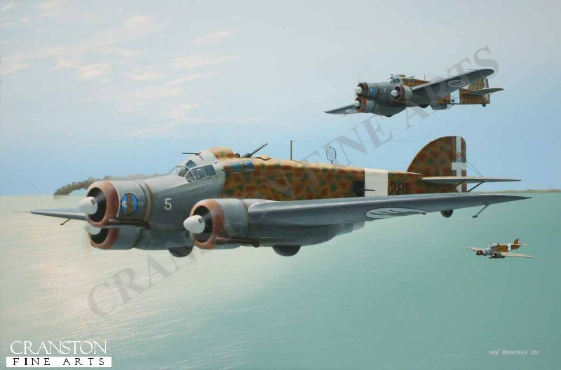 Savoia-Marchetti SM.79s, of the 281a Suadriglia based in Libya in 1940, begin their journey home after another successful mission against Allied shipping in the Mediterranean.  Nearest aircraft is 281-5, that of Capitano Carlo Emanuele Buscaglia. <br><br><i>This print has some light handling damage to outer edge of border.  If we sold framed prints, we would frame these up and sell them as new, the damage is so light.  Instead we have reduced the price online to reflect the minor damage. <br><a href=https://www.military-art.com/mall/border-damage.php>Please click here for a list of all our stock in this category</a>.</b><br><br>