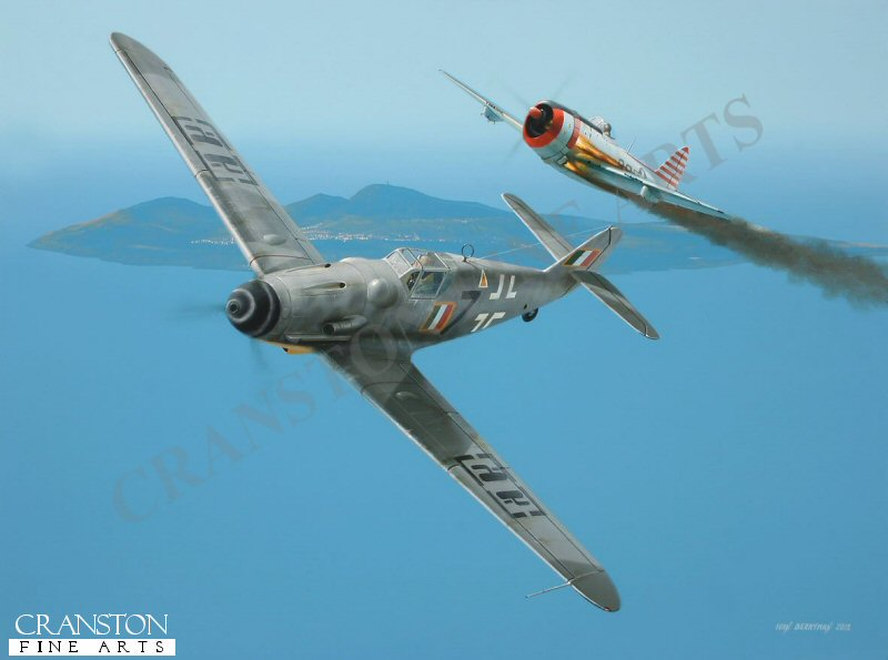 Having converted to the Messerschmitt Bf.109G with 150&#176; Gruppo in 1943, Ugo Drago opted to ally himself with the Repubblica Sociale Italiana when the armistice was announced, taking command of 1a Squadriglia which also re-equipped with the Bf.109G.  Drago scored eleven personal victories in the following nine months from June 1944, many of them flying &#39;Black 7&#39;, as depicted here, claiming a P.47 off the coast of Pantelleria. <br><br><i>This print has some light handling damage to outer edge of border.  If we sold framed prints, we would frame these up and sell them as new, the damage is so light.  Instead we have reduced the price online to reflect the minor damage. <br><a href=https://www.military-art.com/mall/border-damage.php>Please click here for a list of all our stock in this category</a>.</b><br><br>
