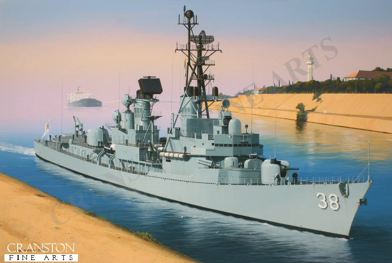 The class leader of three destroyers built to the U.S. Charles F Adams class design for the Royal Australian Navy, HMAS Perth served with distinction for 34 years before being scuttled in 2001 to form an artificial reef in King George Sound.  She is depicted here passing through the Suez canal on one of her many deployments.