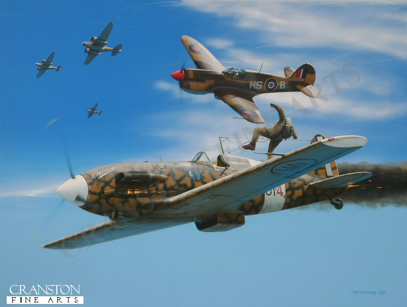 Having joined the RAF at the age of 19, James Francis Edwards was to end the war with a total of  20 confirmed kills and another 10 probables and was one of Canada&#39;s greatest aces.  He is depicted here in his Curtiss P.40, dispatching a Macchi MC.202 whilst defending Boston and Baltimore bombers on their way to attack the airfields of Daba on 19th October 1942. <br><br><i>This print has some light handling damage to outer edge of border.  If we sold framed prints, we would frame these up and sell them as new, the damage is so light.  Instead we have reduced the price online to reflect the minor damage. <br><a href=https://www.military-art.com/mall/border-damage.php>Please click here for a list of all our stock in this category</a>.</b><br><br>