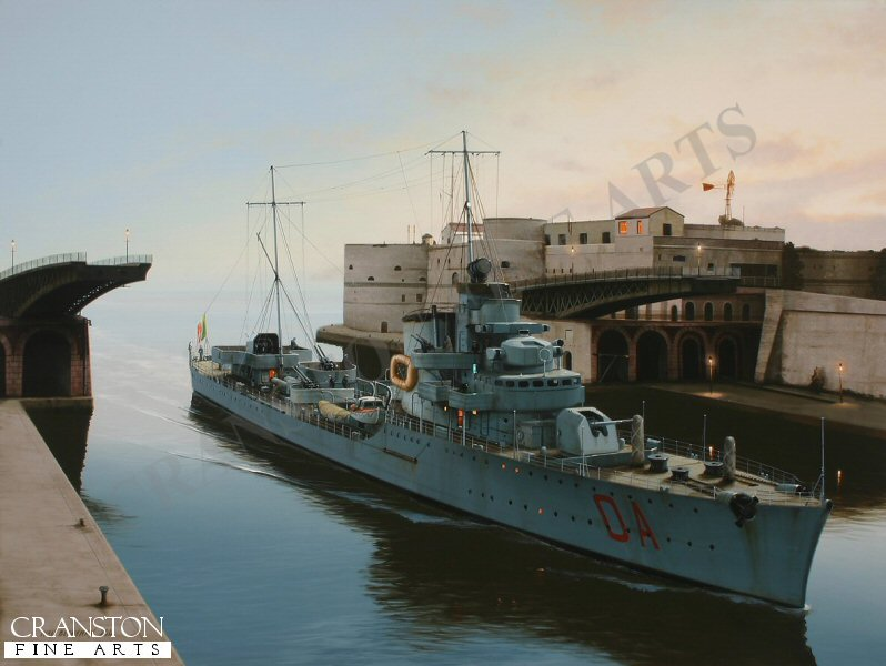 The Italian destroyer Alfredo Oriani slips quietly through the open span of the swing bridge at Taranto after a long Mediterranean mission. This ship was present at the Battle of Matapan in March 1941 and was successful against Allied shipping during Operation Harpoon the following year.  After the armistice, she was laid up at Malta and was eventually presented to the French navy at the end of the war as reparation, whereupon the Oriani was renamed D&#39;Estaing and served under the French flag until 1954. <br><br><b>TWO PRINTS ONLY IN THIS SPECIAL NEWSLETTER PROMOTION.</b><br>