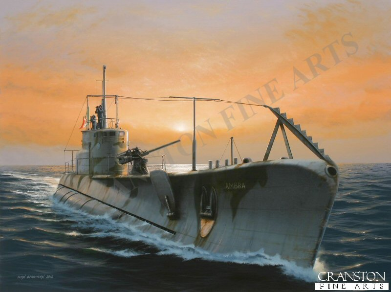 In January 1941, the young Mario Arillo was appointed the rank of Lieutenant Commander, placed in charge of the Regia Marina&#39;s submarine <i>Ambra</i> and was dispatched to the Mediterranean to help disrupt supplies to the Allied forces.  In May of that same year, Arillo attacked the British Dido Class Cruiser <i>HMS Bonaventure</i>, and Destroyers <i>HMS Hereward</i> and <i>HMS Stuart</i>, south of Crete, en route from Alexandria, the cruiser <i>Bonaventure</i> being sunk with great loss of life.  The <i>Ambra</i> is depicted here in a calmer moment, two of her crew scanning the horizon for &#39;business&#39;.