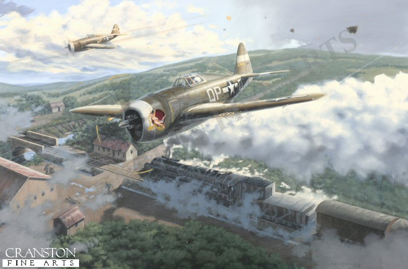 Colonel Steve Pisanos and his wingman in their P-47 Thunderbolts take an opportunity to attack a German train in France, 1944. <br><br><i>This print has some light handling damage to outer edge of border.  If we sold framed prints, we would frame these up and sell them as new, the damage is so light.  Instead we have reduced the price online to reflect the minor damage. <br><a href=https://www.military-art.com/mall/border-damage.php>Please click here for a list of all our stock in this category</a>.</b><br><br>