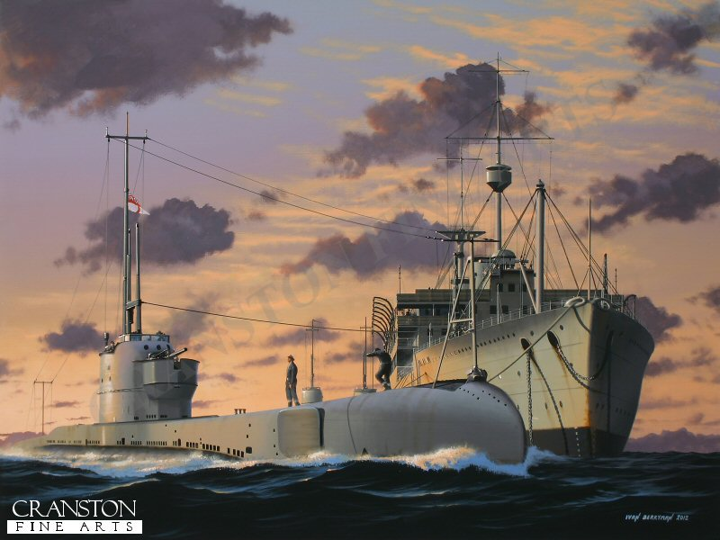 Launched in Barrow in Furness on 22nd August 1929, the Parthian Class submarine HMS Poseidon (P99) was destined to meet a tragic fate on 9th June 1931 when she was inexplicably involved in a collision with a Chinese freighter in the Bohai Sea during exercises in clear visibility.  31 of her crew managed to get into the water before the submarine sank, whilst a further eight escaped from the submerged vessel.  Two of these didn't make it to the surface and one died later in hospital, making a tragic total of 21 deaths in this extraordinary tragedy.  HMS Poseidon is depicted here in happier times, moving off from her depot ship as the night sky closes in.